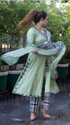 Discover thousands of images about deol Kurti Sleeves Design, Kurta Neck Design, Sleeves Designs For Dresses, Designer Punjabi Suits, Indian Designer Wear, Pakistani Dress Design, Pakistani Dresses, Kurta Designs Women, Blouse Designs