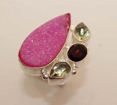 Beautiful pink druzyamethystquartz designer by 925silvercreation, $9.00