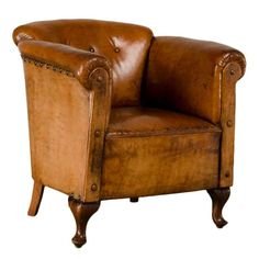 France. Art Moderne leather armchair with original leather. ca1940. h30w32d28