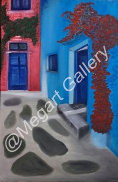 ΚΑΛΛΙΤΕΧΝΗΣ:ΔΗΜΗΤΣΑ ΟΛΓΑ ΔΙΑΣΤΑΣΕΙΣ:80X60CM ΕΛΑΙΟΓΡΑΦΙΑ TIMH:800,00 € Blue Artwork, Shades Of Blue, Neon Signs