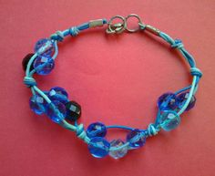 Bracciale mezzi cristalli blu azzurro e di ilgiardinoacerorosso
