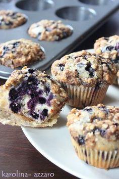 karolina-azzaro: Čučoriedkové Muffiny s posýpkou A Food, Good Food, Food And Drink, Sacher, Healthy Recepies, Sweet Cooking, Sweet Bar, Aesthetic Food, Desert Recipes