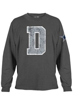 43ce151021d Dallas Cowboys T-Shirt - Charcoal Dallas Hickory Mens Long Sleeve Tee http:/