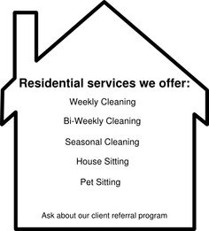 Residential House Cleaning Services Offered