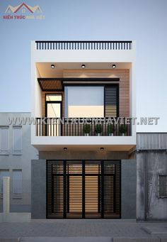 Narrow House Designs, Modern Small House Design, Modern Exterior House Designs, Small House Exteriors, Modern House Facades, Small Modern House Plans, Minimalist House Design, 3 Storey House Design, Bungalow House Design