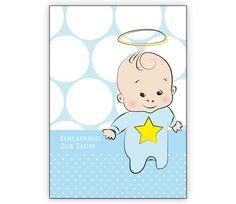 Süße Tauf Einladung für Buben mit Heiligenschein und Stern - http://www.1agrusskarten.de/shop/suse-tauf-einladung-fur-buben-mit-heiligenschein-und-stern/    00000_1_2314, einladen, Familie Geburt, Grusskarte, Kind, Kirche, Klappkarte Baby, Taufe, taufen Einladung00000_1_2314, einladen, Familie Geburt, Grusskarte, Kind, Kirche, Klappkarte Baby, Taufe, taufen Einladung