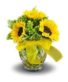 Send this arrangement of sunflowers & accenting solidago from City Line Florist this Summer.