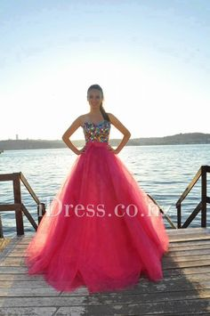 Strapless Beaded Bodice Red Tulle Long Beach Prom Dress with Bow Detail