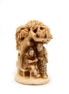 Mammoth Ivory Netsuke - Under a tree