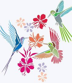 Three humming birds and flowers theme pack 2 sheet stencil pack Humming Birds Stencil. These beautiful little birds capture the imagination of artists the world over and make fantastic decorative moti Stencil Patterns, Stencil Designs, Embroidery Patterns, Bird Stencil, Stencil Art, Damask Stencil, Stencil Printing, Bird Silhouette, Bird Illustration