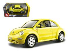 Volkswagen New Beetle Yellow 1/24 Diecast Model Car by Bburago