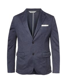 Slim-Fit Piqua Blazer by H.E Mango. Slim-Fit Cotton Pique Blazer made from polyester blend with navy color, open front, long sleeve. Features elbow patches and twin front pockets, complete your office look with this slim-fit blazer.   http://www.zocko.com/z/JGrQl