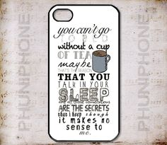 One Direction London Boy Band 'Cup of Tea' Song Lyrics Quote Phone Case<<>> Apple iPhone 4, iPhone 4S, iPhone 5, iPhone 5S & iPhone 5C Cases...