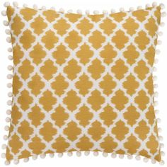Better Homes and Gardens Tangier 18 inch x 18 inch Poly/Cotton Fabric Printed Geometric Ikat Design Pillow with Pom Pom, Gray Yellow Pillows, Ikat Pillows, Decorative Pillows, Pins And Needles Feeling, Yellow Wall Decor, Designer Pillow, Better Homes And Gardens, Printing On Fabric, Living Room Decor