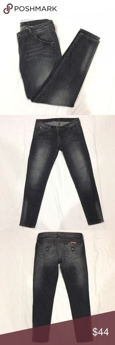 """Hudson skinny jeans Faded black colored skinny jeans. Has flap pockets in the back, and open pockets in the front. Length: 34"""", inseam: 27"""", rise: 8"""", waist: 16"""" across. In great condition. Feel free to make me a reasonable offer 💕 Hudson Jeans Jeans Skinny"""