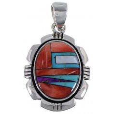 Turquoise Multicolor Inlay And Sterling Silver Pendant NS42550