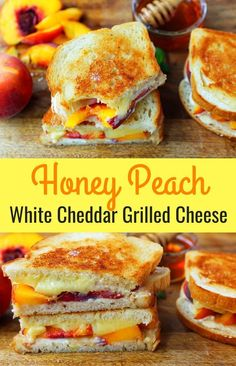 Honey Peach White Cheddar Grilled Cheese — A summer grilled cheese sandwich with sweet juicy peaches, white cheddar cheese, a drizzle of honey on buttery toasted bread. Lunch Recipes, Vegetarian Recipes, Cooking Recipes, Healthy Recipes, Burger Recipes, Cooking Kale, Cooking Salmon, Chef Recipes, Grilled Sandwich