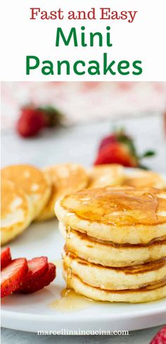 These Mini Pancakes are ready in just 20 minutes using basic pantry ingredients! Such a cute little bite that is so much fun to make and eat you'll want to make these again and again!! #minipancakes #silverdollarpancakes #homemadepancakes #marcellinaincucina Mini Pancakes, Homemade Pancakes, Pancakes Easy, Silver Dollar Pancakes, Little Bites, Little Kitchen, Breakfast Ideas, Food Inspiration, Pantry