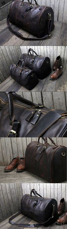 Handmade leather men Travel Duffle Bag Laptop Weekender Bag