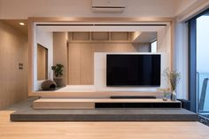 Pavilion Residential house design details, description and images. Tv Console Design, Tv Unit Design, Small Apartment Design, Small Apartments, Interior Design Awards, Home Interior Design, Tv Feature Wall, Muji Home, Japanese Apartment