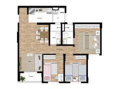Apto de 3 dormitórios de 66m² com suíte e terraço