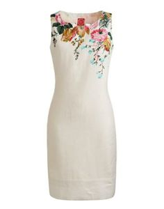 WOMENS LINEN DRESS, CREME POSY (PIP FLORAL)