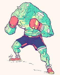 """1,060 mentions J'aime, 9 commentaires - Eslam Abo Shady (@eslam_aboshady) sur Instagram : """"#characterdesign #character #boxing #illustration #friday #instaart #instaartist #crocadile"""""""