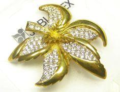 "Vintage Czech Clear Glass Rhinestones Brooch Pin Flower Yablonex 2"" 50 mm"
