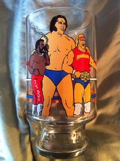 Vintage 80's Titan sports wwf wwe hulk piper glass on Etsy, $25.00