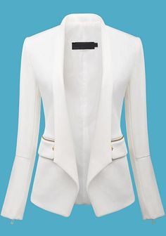White Long Sleeve Zipper Fitted Blazer - Sheinside.com More