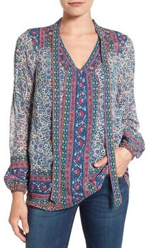 Lucky Brand Woodblock Print Tie Neck Blouse available at #Nordstrom