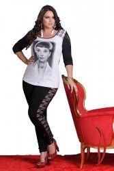 Novidades www.tamanhosespeciais.com.br Loja Virtual Plus Size Calça Legging Renda Preta strech Plus Size 48 50 52 54 GG