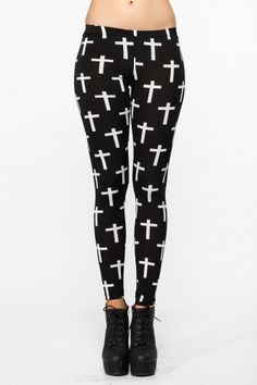Cross Printed Leggings Becca has two pairs of these and literally wears her bottom half like this three days a week.