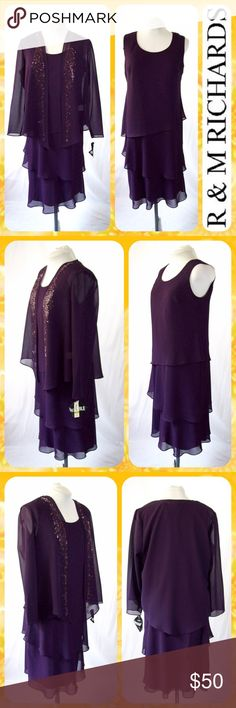 """2-Piece Eggplant Purple Beaded Jacket Dress Sz 14 New with Tags! Beautiful 2-Piece Set from R&M Richards in an eggplant purple color with scrolling purple metallic bead detail on the jacket. Sleeveless tiered chiffon midi dress with popover styling. The dress is lined and the matching chiffon jacket is not. Size XL or 14. Dress measures 21"""" across the chest and 44"""" in length. So pretty! R&M Richards Dresses Midi"""