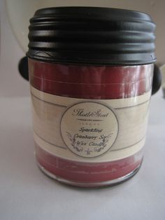 Sparkling Cranberry Soy Wax Candle 9oz Jar by ThistleStreetSoap, $12.00