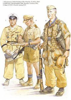 1: Capitan, Brigada Paracaidista Ramcke; Africa del norte, 1942 2: Sargento, Brigada Paracaidista Ramcke; Africa del norte, 1942 3: Cazador, 1er Batallón, 5to Regimiento Paracaidista: Tunez, primavera de 1943