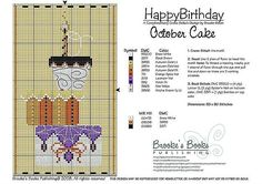 October Birthday Cake Cross Stitch Pattern | Brooke's Books Publishing