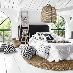 Kährs | Wood flooring | Parquet | Interior | Sweden | Design | www.kahrs.com LOVE THIS AWESOME BEDROOM WITH THE VAULTED CEILING, BLACK& WHITE COLOUR SCHEME & FABULOUS DECOR!! ⚜