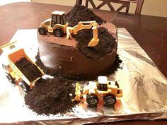 An excavator cake.  Perfect for Lachlan!