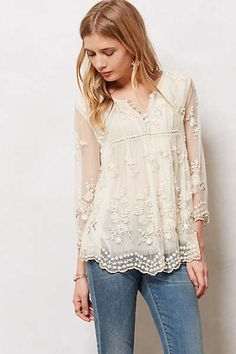 Anthropologie Lace Blouse. Not meant for busty ladies but it's lovely.