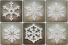 Create Your Own Diy Snowflakes For Decoration - Do It Yourself Samples Diy Christmas Snowflakes, Christmas Perler Beads, Snowflake Craft, Cone Christmas Trees, Snowflake Decorations, Christmas Crafts, Bead Crafts, Diy And Crafts, Diy Christmas Fireplace