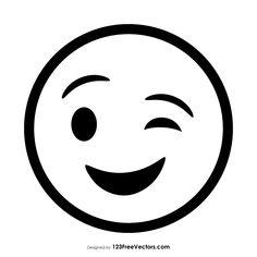 Terrified Large Eyed Black And White Smiley Face Emoticon