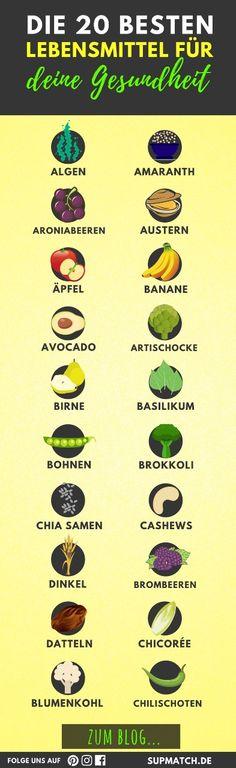 Die 20 besten Lebensmittel für deine Gesundheit und Fitness.