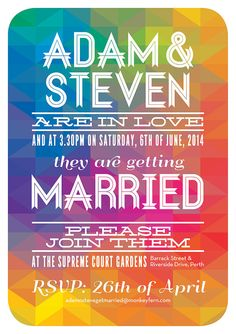 Gay wedding stationery.  Geometric Spectrum by AdamNSteveGetMarried  get our app https://play.google.com/store/apps/details?id=com.wgaydatingtips