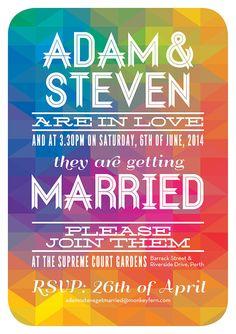 Gay wedding stationery.  Geometric Spectrum by AdamNSteveGetMarried