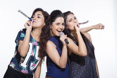 Three female friends singing with equipments Female Friends, High Level, Singing, India, Stock Photos, Image, Delhi India, Indian