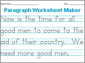 Handwriting Worksheet Generator
