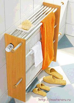 Handtuchtrockner You do not need a towel heater: This self-built towel dryer fits normal heaters. As a result, more towels on the heater space. We show you how to build the towel holder yoursel Towel Heater, Diy Casa, Radiator Cover, Home Organization, Home And Living, Diy Furniture, Diy Home Decor, Home Improvement, Sweet Home