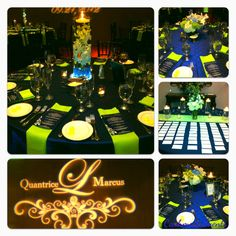 Beautiful Wedding in lime green but instead of navy blue, I would choose purple... :)