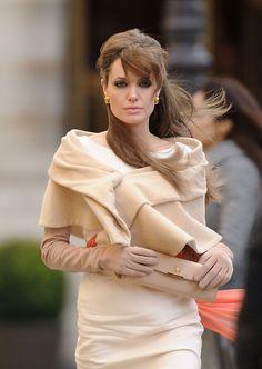 Angelina Jolie, love her look in The Tourist.  Beige, cream monochrome